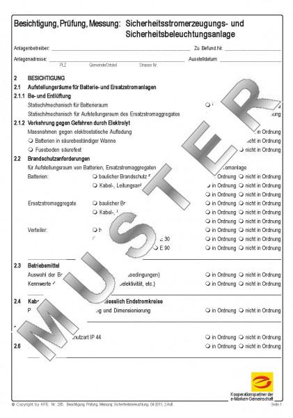 Prüfbefund Sicherheitsstromerzeuguns- und -beleuchtunsanlage