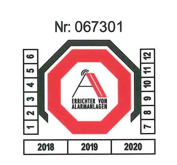 AA-Aufkleber nummeriert für Installationsattest R2