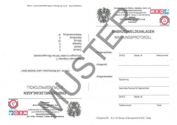 Einbruchmeldeanlagen - Wartungsprotokoll/Störungsprotokoll