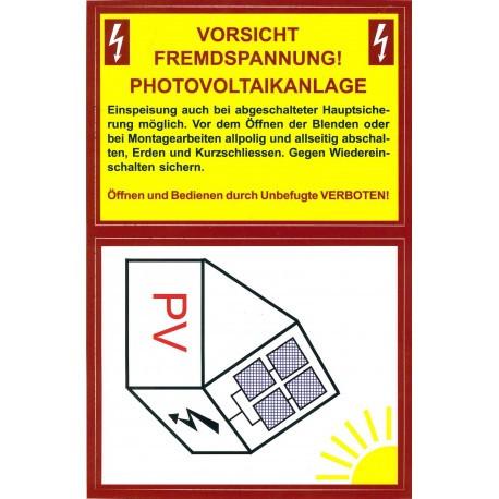 Aufkleber Fremdspannung Photovoltaik