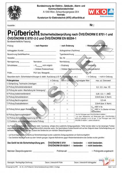 Prüfbericht Sicherheitsüberprüfung nach ÖVE/ÖNORM E8701-1