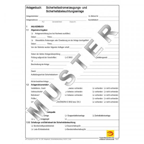Anlagendokumentation Sicherheitsstromerzeugungs- und beleuchtungsanlagen